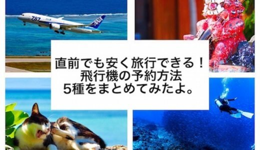 直前でも安く旅行できる!飛行機の予約方法5つをまとめてみたよ。